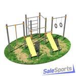 Спортивный комплекс с двумя лавками для пресса, канатом, кольцами, тремя турниками и лестницей СВС 2