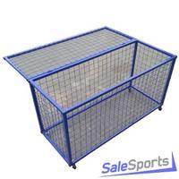 Тележка из металлической сетки для хранения мячей и спортинвентаря на колесиках